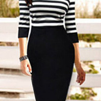 Striped Half Sleeve Bodycon Midi Dress