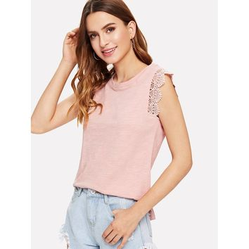 Lace Trim Solid Top Pink