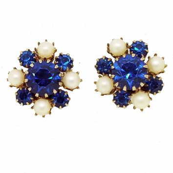 1950's Vintage Sapphire Blue and Faux Pearl Clusters Clipback Earrings