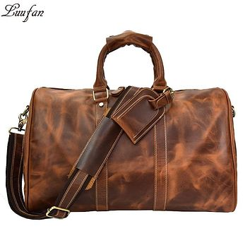 Men Genuine Leather Travel Duffel Large Capacity cow leather travel bag vintage carry on Weekend luggage bags big shoulder bag