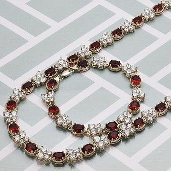 Gold Layered Women Butterfly Necklace and Bracelet, with Garnet Crystal, by Folks Jewelry