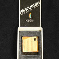 Vintage 1960's Cigarette Lighter In Gold Tone With Original Case and Box