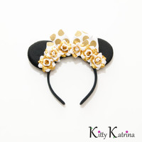 Gold and White Minnie Mouse Ears Headband, LED Headband, Mouse Ears Headband, Minnie Ears, Disney Bound, Disney Headband, Disney World