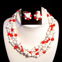 VTG 4 strand Necklace & Earrings red and white milk glass beads