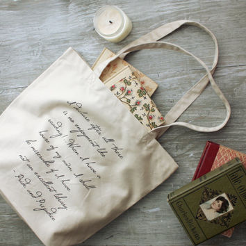 Pride and Prejudice Tote Bag - Reading Quote - Gift Ideas for book lovers