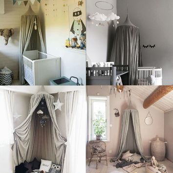 220cm Grey Round Dome Bed Canopy Kids Reading Play Tents Cotton Mosquito Net Bed Valance