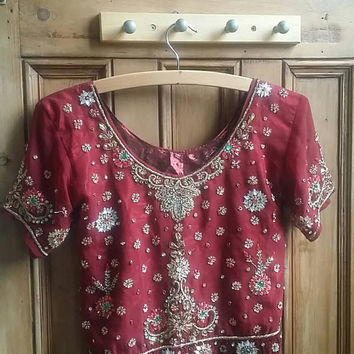Vintage boho crop top beaded ethnic Indian floral hippie festival clothing gold jewel tones womens boho folk clothes Dolly Topsy Etsy UK