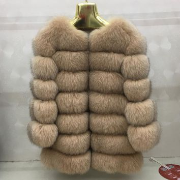 2017 New fashion 100% natural Fox fur long vest real fox fur gilet winter high quality women fur vest real fox fur coat A380-005