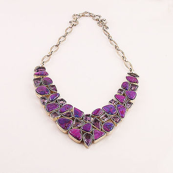 Amethyst and Purple Turquoise Sterling Silver Necklace