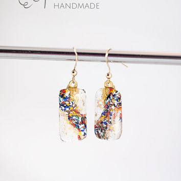 Murano glass multicolor earrings-Stylish Casual colorful dangle Earrings Goldfilled hooks-italian artisan handmade jewelry-unique gift idea