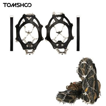TOMSHOO 19 Teeth Crampons Non-slip Shoes Cover Stainless Steel Ice Cleats Shoe Boot Grips Snow Ski Ice Snow Hiking Crampons