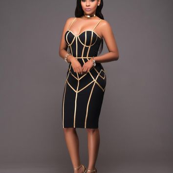 Female Black and Gold Strap Zipper Bandage Keen-length Dress Women Sexy Sleeveless Bodycon Club Wear Casual Vestidos