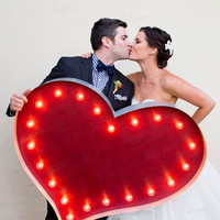 """36"""" Heart Vintage Marquee Hollywood Lighted Wood & Metal.... Wedding, Engagement, Home"""