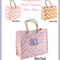 Personalized Chevron Tote Bags - Monogrammed