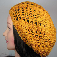 Crochet Beret Segmented Tam Hat in Mustard Yellow, Cotton Blend
