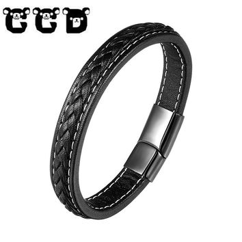 CCD 2018 Fashion Black Stainless Steel Chain Genuine Leather Bracelet Men Vintage Male Braid Punk Bangles Jewelry for women Gift