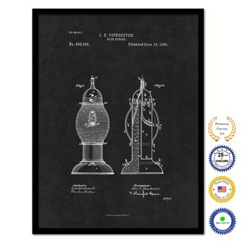 1889 Barber Hair Sanitizer Vintage Patent Artwork Black Framed Canvas Home Office Decor Great Gift for Barber Salon Hair Stylist