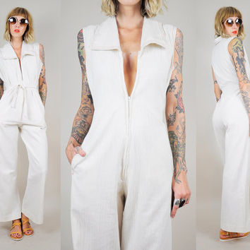 70's BELL BOTTOM Jumpsuit Gauze Muslin Pantsuit Bohemian POCKET Flared Deep-V Zipper Hippie xs/s