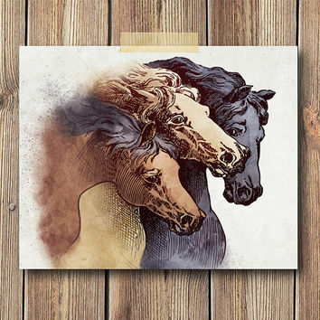 Vintage Horse Illustration Art Print, 8x10 Print, Wall art, Home decor, Rustic, Watercolor, Brown, Tan
