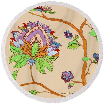 Heavens Flower - Round Beach Towel 150