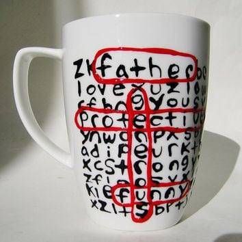 Father's Day Personalized Word Search Ceramic Mug MMMug Black White Red