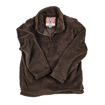 YOUTH Silky Pile Pullover 1/4 Zip in Brown by True Grit