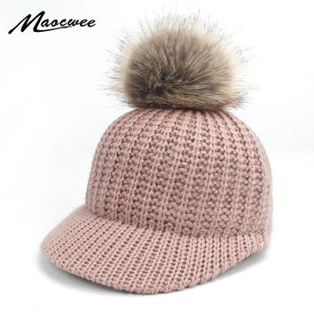 Trendy Winter Jacket Women Girl Warm Bone Snapback Hat Female Autumn Winter Faux Fur Pom Pom Hats Hip Hop Felt Baseball Cap For Adults and Children AT_92_12