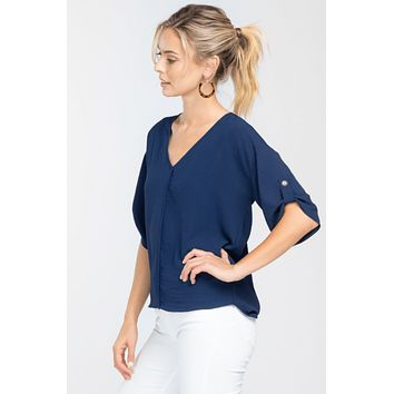 Women's V-Neck Blouse with 3/4 Sleeves