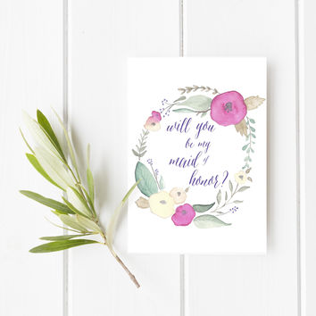 Floral Will You Be My Maid of Honor Card