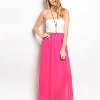 Womens Strapless Neon Pink White Lace Chiffon Open Back Maxi Dress from NoirStar Boutique