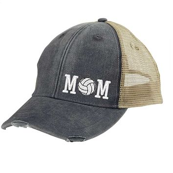 Volleyball Mom Distressed Snapback - off-center