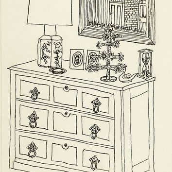 Interior Pen & Ink Drawing By Arthur Newton 1970