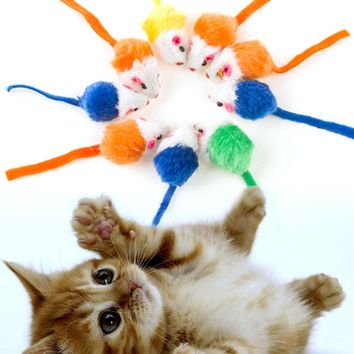 10Pcs/lot Colorful Cat Toys Plush False Mouse Toys For Cats Kitten Animal Funny Playing Pet Cat Products