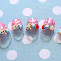 Easter, bunny, 3D nails, kawaii nail art, bear, pink, polkadot, Japanese press on nails