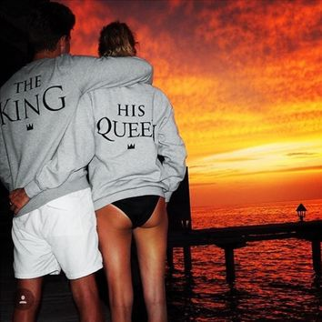 2017 Fashion Couples Sweatshirts Women Men KING QUEEN Casual Long Sleeve Pullovers Hoodies Lovers Sweatshirt