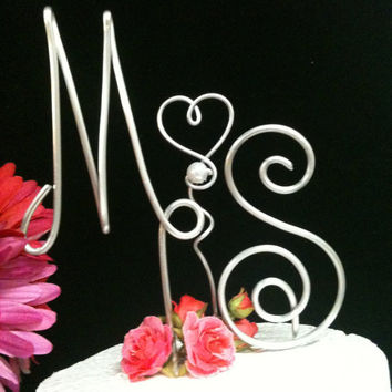 NEW DESIGN 3 Piece Initial Cake Topper for A Unique by AllegroArt