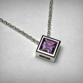 Genuine Amethyst Necklace Pendant, Sterling Silver, Solitaire Purple Princess Square Real Amethyst Necklace, February Birthstone, Bezel Set