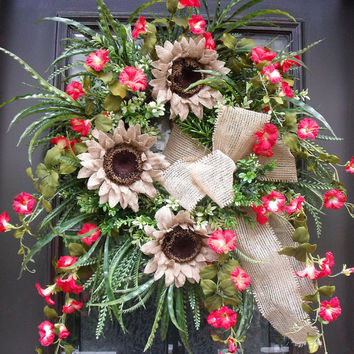 Front Door Wreath Summer, Summer Sunflowers, Burlap Wreath, Summer Wreaths, Door Wreaths