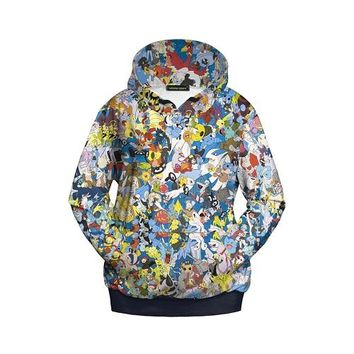 Pokemon Icons Colorful Hoodie