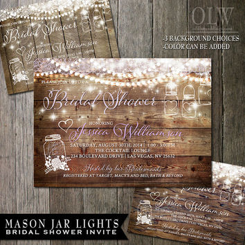 Mason Jar Bridal Shower Invitation - Rustic Wood with white mason jars and flowers - Country Wedding Invite Sample4.50 | Digital File25.00