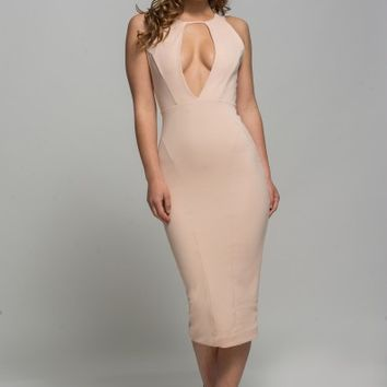 BLUSH SLEEVELESS OVAL PLUNGE DRESS - ALMAU
