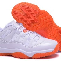 Hot Nike Air Jordan 11 Low Women Shoes White Orange