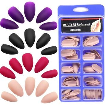 Matte Stiletto False Nails 100pc/Box