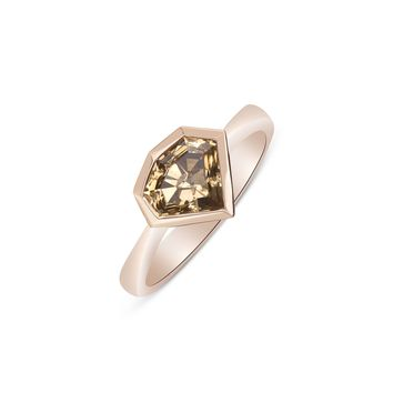 1.54 Carat Natural Brown Geometric Diamond Bezel Handmade Ring - 14K Rose Gold by Luxinelle® Jewelry