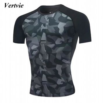 Vertvie Man's Gym Fitness Running T-shirts Breathable Quick Dry Basket Ball Training Exercise Men Short Sleeve Sports T shirt