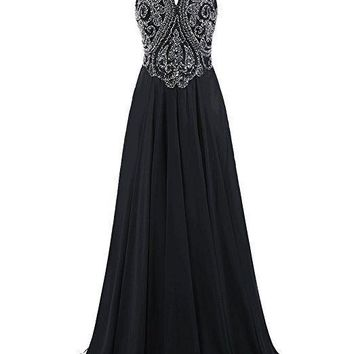 TDHQ Hot Sale Women's Long Beading Prom Gown Evening Party Cocktail Backless Dress