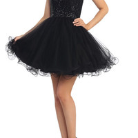 PRIMA C1512 Sequin Cap Sleeve Homecoming Cocktail Dress