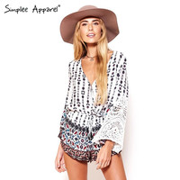 Simplee Apparel desigual print vintage sexy jumpsuit romper Long sleeve white lace patchwork short playsuit V neck tunic macacao