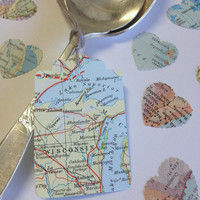Vintage Atlas Map Tags - Set of 25 - wedding favours, travel theme wedding, bon voyage party, baby shower tags