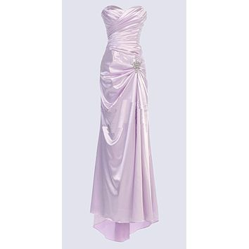 Lilac Satin Prom Dress Pleated Bodice Strapless Sweetheart Neck